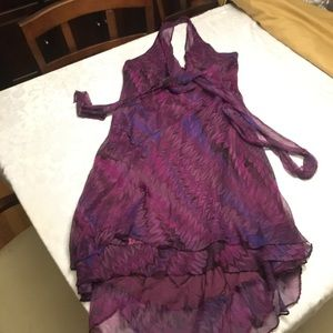 NWT 100% Silk Purple Shelli Segal Flowing Dress